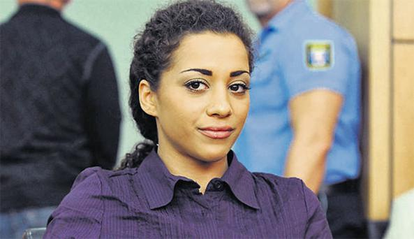Nadja Benaissa, the German pop singer with band No Angels, inset, in court yesterday for the start of her trial