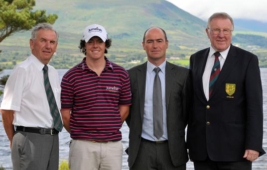 Rory McIlroy (2006 winner) pictured with Albert Lee (Chairman, Scratch Cup Committee), Noel Delaney (Director, Grant Thornton) and Liam Conlon (Captain, Mullingar GC), at the announcement of details for the 2010 Grant Thornton Mullingar Scratch Cup which will be held on August 28-29. Photo: Pat Cashman