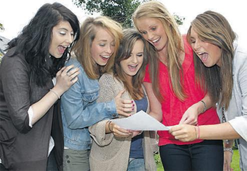 Enjoying the moment Leaving Cert students (left to right), Michelle Smith with Aisling McGinn, Jenny Russell and Sonia O Dolan and Lisa Robinson