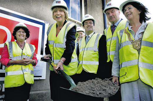 Tanaiste and Minister for Education Mary Coughlan and council officials in Blackrock, Co Dublin yesterday turning the first sod on the site of a new Dun Laoghaire VEC College building