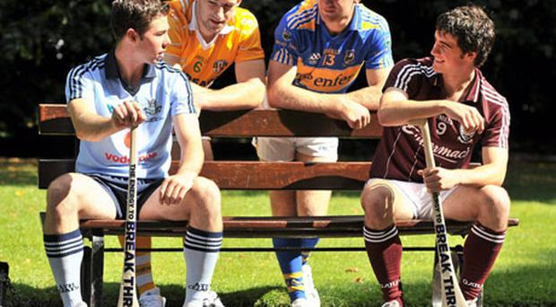 At a photocall ahead of the Bord Gáis Energy U21 hurling semi-finals in O'Connor Park on Saturday were, from left, Oisin Gough (Dublin), Cormac Donnelly (Antrim), Noel McGrath (Tipperary) and David Burke (Galway). Photo: Brendan Moran / Sportsfile
