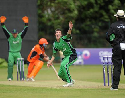 Ireland's George Dockrell unsuccessfully appeals for the wicket of Bernard Loots of the Netherlands. Photo: Barry Cregg / Sportsfile