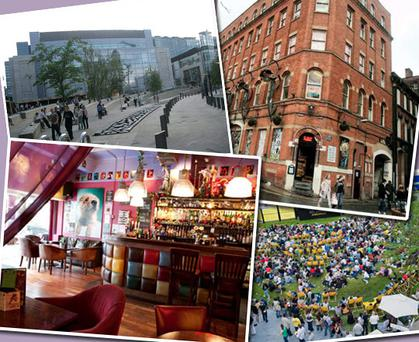 Clockwise from left: Exchange Square, Afflecks Palace, Spinningfields Cinema, Odder Bar. Photos: Louisa McDonnell