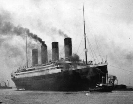 The SS Titanic leaves Belfast on a trial voyage shortly before she sank in April 1912. Photo: Getty Images