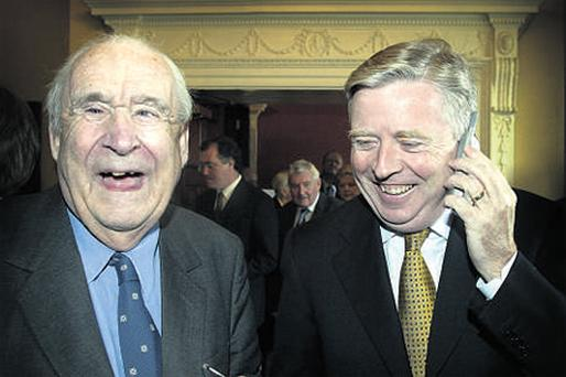 LIFE OF ACHIEVEMENT: Prof Jim Dooge, left, who passed away on Friday, pictured with former European Parliament president Pat Cox