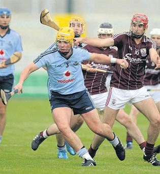 Dublin's Darren Kelly in action against James Regan of Galway during the Bord Gais Energy U-21 HC semi-final in Tullamore on Saturday. Photo: Ray McManus / Sportsfile