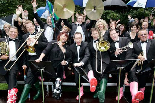 The RTE Concert Orchestra at yesterday's announcement that they are to perform at Electric Picnic