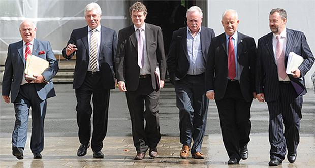 Left to right, Camillus Quinn, Alex White, Mark Deery, Joe O'Toole, chairman Pat Moylan and Denis O'Donovan, members of the Seanad committee on members' interests, following their meeting in Dublin yesterday