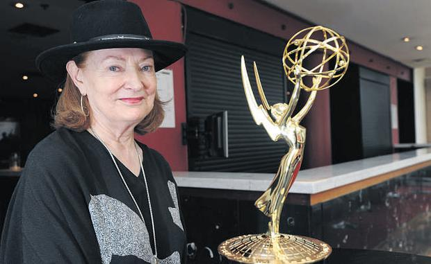 'The Tudors' costume designer Joan Bergin with her Emmy Award at the Abbey Theatre in Dublin last night