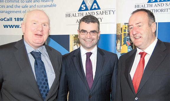 ICMSA president Jackie Cahill, Minister for Labour Affairs Dara Calleary and IFA president John Bryan