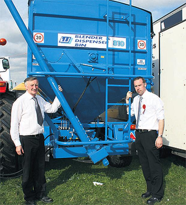 Father and son Philip and Michael Ward from Castleblayney, Co Monaghan with their mobile meal dispensing bin
