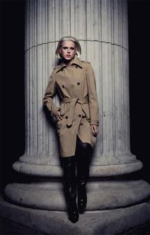 Right Trench coat, €1,000, Celine; boots, €720, Prada; tights, €49, Wolford. Photo: Andreas Pettersson