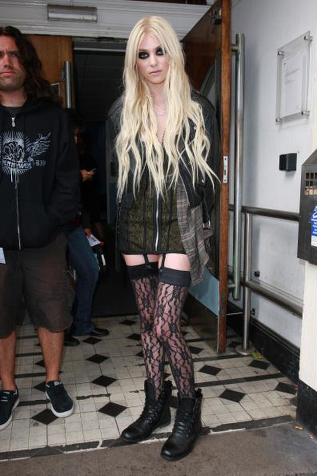 LONDON, UNITED KINGDOM - AUGUST 23: Taylor Momsen Sighted arriving at BBC Radio One Live Lounge on August 23, 2010 in London, England. (Photo by Neil Mockford/FilmMagic)