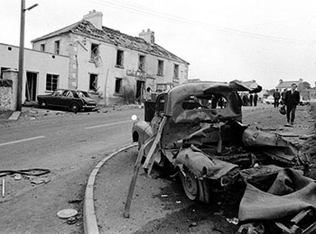 Wreckage outside the Beavpont Arms following the IRA bombing in the village of Claudy. Photo: AP