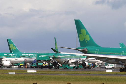 Despite results for the first half of the year, which showed that pre-tax losses had contracted by 80pc, Aer Lingus lost 4.3pc. Photo: Bloomberg News