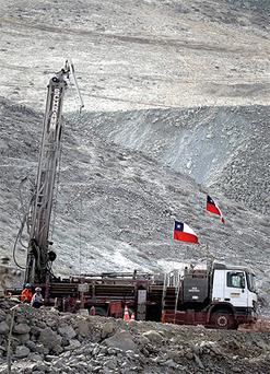 A drill is seen outside the San Jose collapsed mine in Copiapo