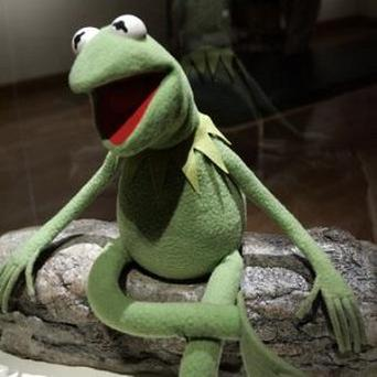 An early Kermit the Frog puppet by Muppets creator Jim Henson sits on display at Arkansas Arts Center