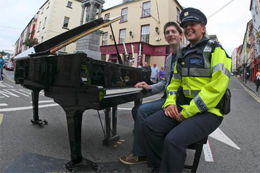 Mr Collins, the artistic director of the New Ross Piano Festival, on the streets to launch this year's event