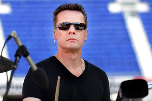 Drummer Larry Mullen during Nou Camp rehearsals in 2009