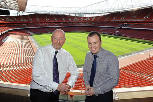 Alan Davison, MD of Portview Fit-Out and (right) Angus Kinnear, Marketing Director for Arsenal FC, pictured at the Emirates Stadium. Photo: PA