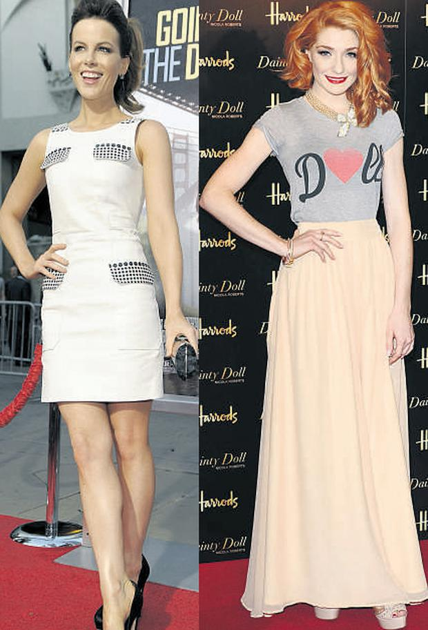 From left: Kate Beckinsale and Nicola Roberts