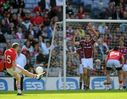 Cork's Brian Hurley scores his side's winning point after his team's epic encounter against Galway yesterday. Photo: David Maher / Sportsfile