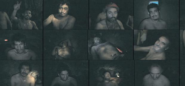 Video stills showing some of the 33 workers who remain trapped underground in a copper and gold mine at Copiapo, Chile