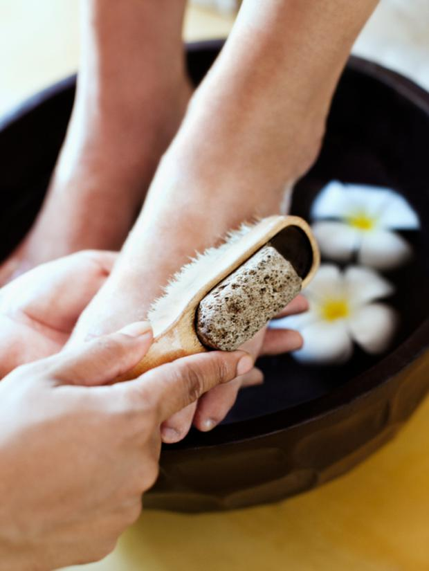 Woman receives spa pedicure at Visaya Spa.