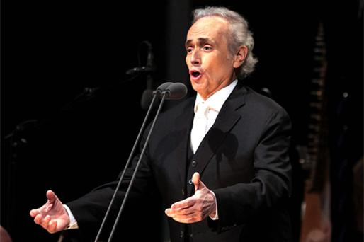 Internationally renowned tenor Jose Carreras performing on stage during the open-air concert in the grounds of Kilruddery House, Co Wicklow, at the weekend