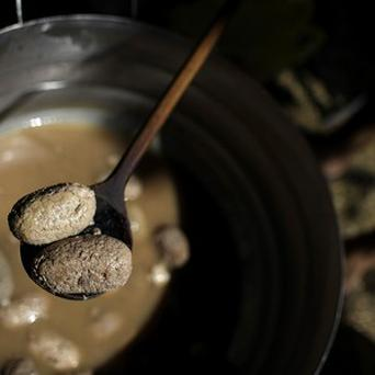 Testicles are cooked in a pot during the so-called 7th annual World Testicle Cooking Championship(AP)