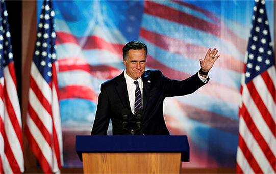 Mitt Romney delivers his concession speech during his election night rally in Boston, Massachusetts