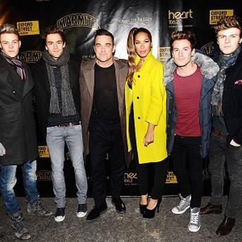 Robbie Williams is joined by Leona Lewis and Lawson before he switches on the Oxford Street lights