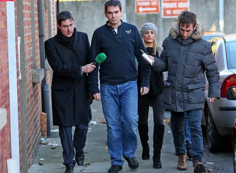 Sean Quinn Jnr. and his wife, Karen pictured leaving Mountjoy Prison Training Unit after visiting Sean Quinn Snr earlier this month.