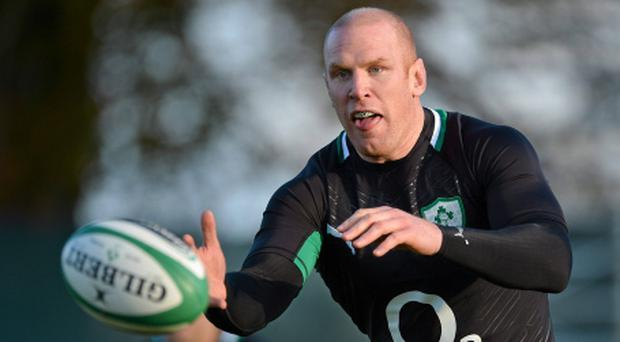 5 November 2012; Ireland's Paul O'Connell in action during squad training ahead of their side's Autumn International match against South Africa on Saturday. Ireland Rugby Squad Training, Carton House, Maynooth, Co. Kildare. Picture credit: Barry Cregg / SPORTSFILE