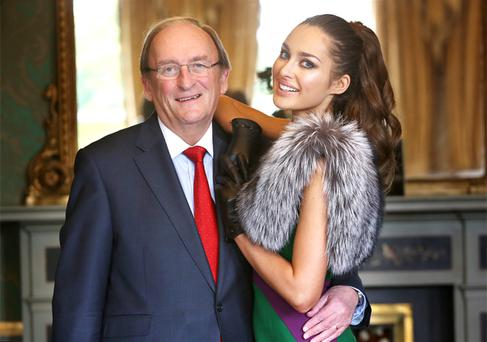 Ceann Comhairle Sean Barrett poses with model Roz Purcell last year