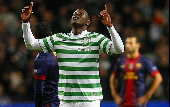Lead man: Victor Wanyama celebrates putting Celtic ahead against Barcelona. Photo: Reuters