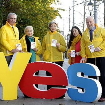 People campaign for a Yes vote in the children's rights referendum on Saturday