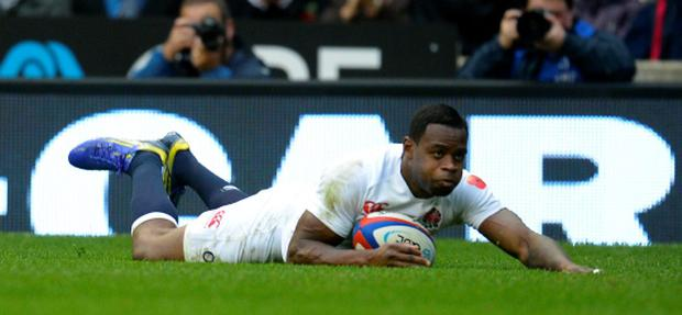 England's Ugo Monye scores try against Fiji during their international rugby union match at Twickenham Stadium in London November 10, 2012. REUTERS/Russell Cheyne (BRITAIN - Tags: SPORT RUGBY)