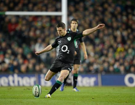 10 November 2012; Jonathan Sexton converts Ireland's second penalty in the 10th minute. Autumn International, Ireland v South Africa, Aviva Stadium, Lansdowne Road, Dublin. Picture credit: Ray McManus / SPORTSFILE