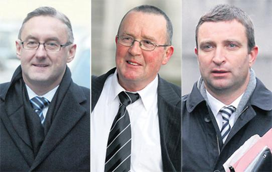 Winthrop Engineering chief Barry English, Mr English's former employee Liam Moloney, and Fianna Fail TD Niall Collins.
