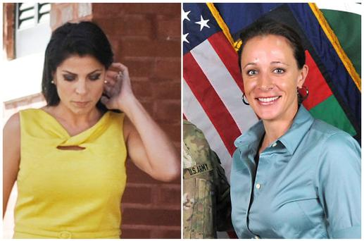 A combination photo shows Jill Kelley (L), a friend of former U.S. General David Petraeus' family, in Tampa, Florida on November 12, 2012 and Petraeus' biographer Paula Broadwell, in an ISAF handout image, originally posted July 13, 2011. REUTERS/Brian Blanco/ISAF/Handout (UNITED STATES - Tags: MILITARY POLITICS MEDIA) BROADWELL/ISAF IMAGE - FOR EDITORIAL USE ONLY. NOT FOR SALE FOR MARKETING OR ADVERTISING CAMPAIGNS