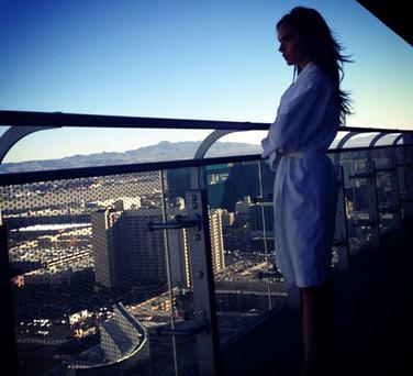Victoria tweeted this picture of herself on her Vegas hotel balcony