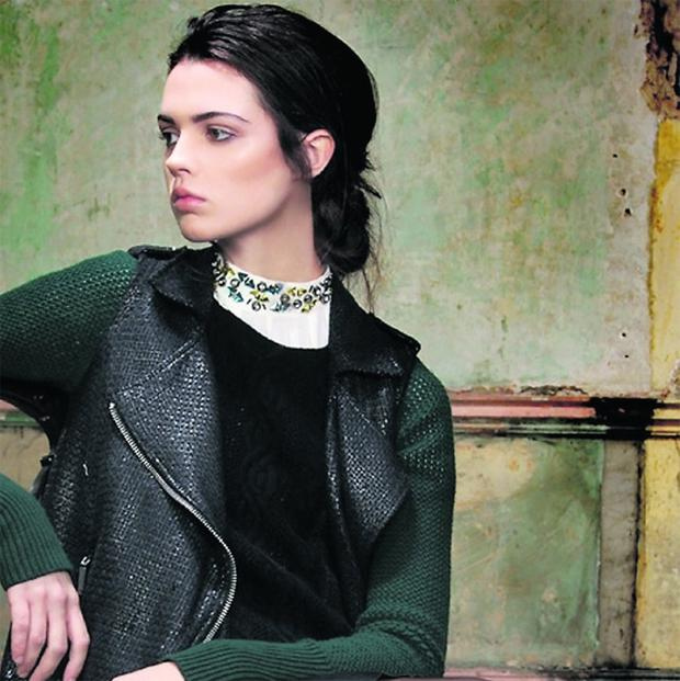 Blouse with embellished collar, €39.95, H&M Trend, exclusive to H&M Dundrum Town Centre; jumper, €275, Theory, at BT2; gilet, €75, River Island; PU skirt, €52, Warehouse, at House of Fraser, and tights, €4 for a pack of three, Penneys