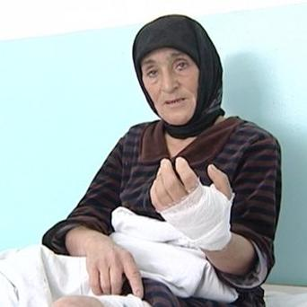 Aishat Maksudova is recovering in hospital after a wolf attack (AP/APTN)