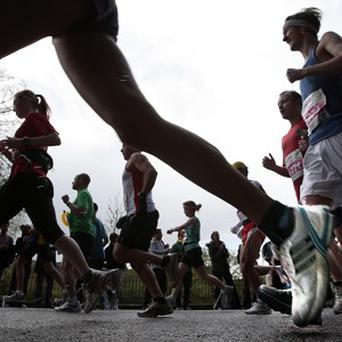 A cyclist wearing a hi-vis jacket was mistakenly followed by the runners in Newcastle
