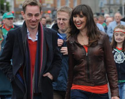 23/9/2012; Ryan Tubridy with his girlfriend, Aoibhinn Ní Shúilleabháin pictured before the All Ireland Football Final between Mayo and Donegal at Croke Park. Pic credit: Damien Eagers
