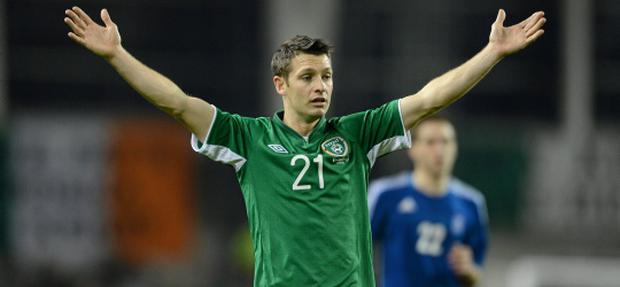 14 November 2012; Wesley Hoolahan, Republic of Ireland, during the game. Friendly International, Republic of Ireland v Greece, Aviva Stadium, Lansdowne Road, Dublin. Picture credit: David Maher / SPORTSFILE