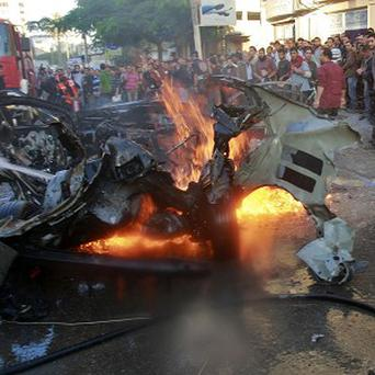 The car in which Ahmed Jabari, head of the Hamas military wing, was killed in Gaza City (AP)