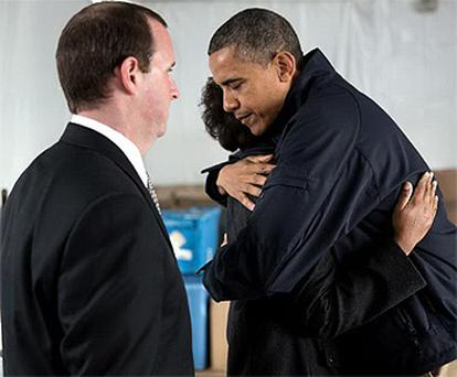 President Barack Obama meets with Damien and Glenda Moore whose two young sons died when Hurrican Sandy struck New York