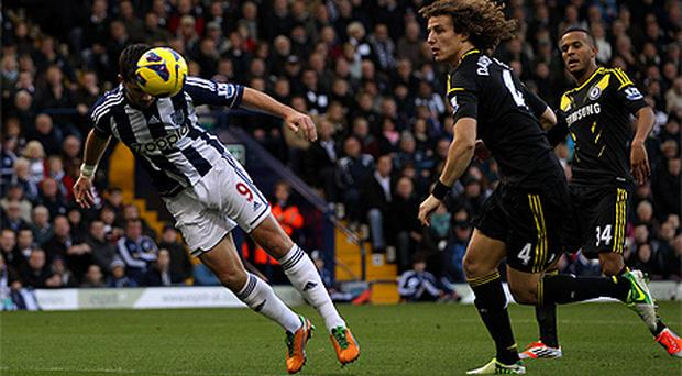 Shane Long scores West Brom's first goal